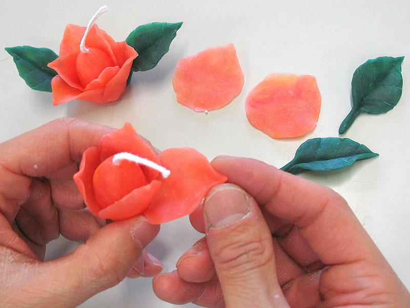 バラの花キャンドルの作り方