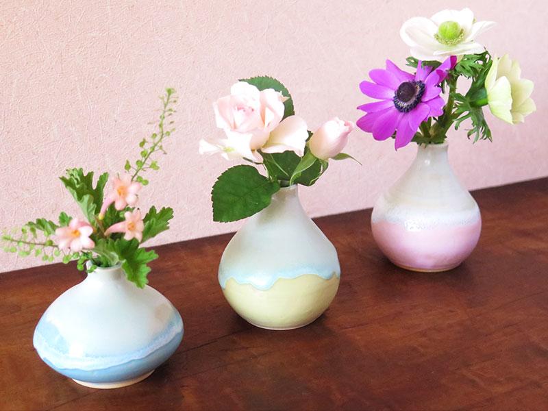 カラフルマット釉で作る♪ 春色のミニ花瓶♪