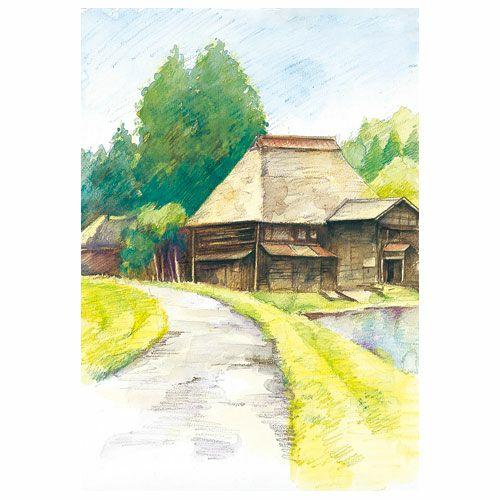 大人の塗り絵:風景編Ⅰ 単品 かやぶきの民家と路